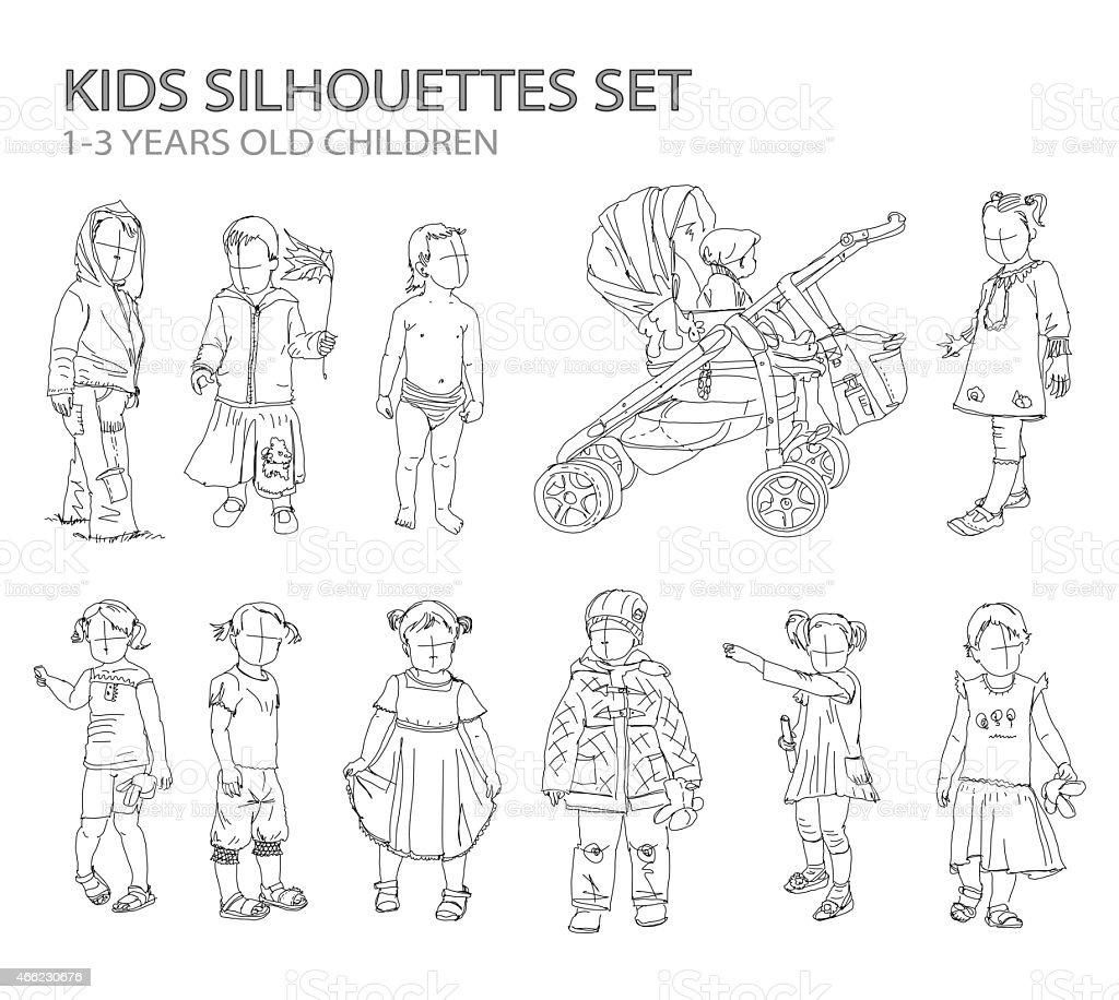 Children and babies sketch silhouettes vector art illustration