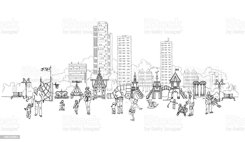 Children and babies with parents on the play ground. Sketch vector art illustration