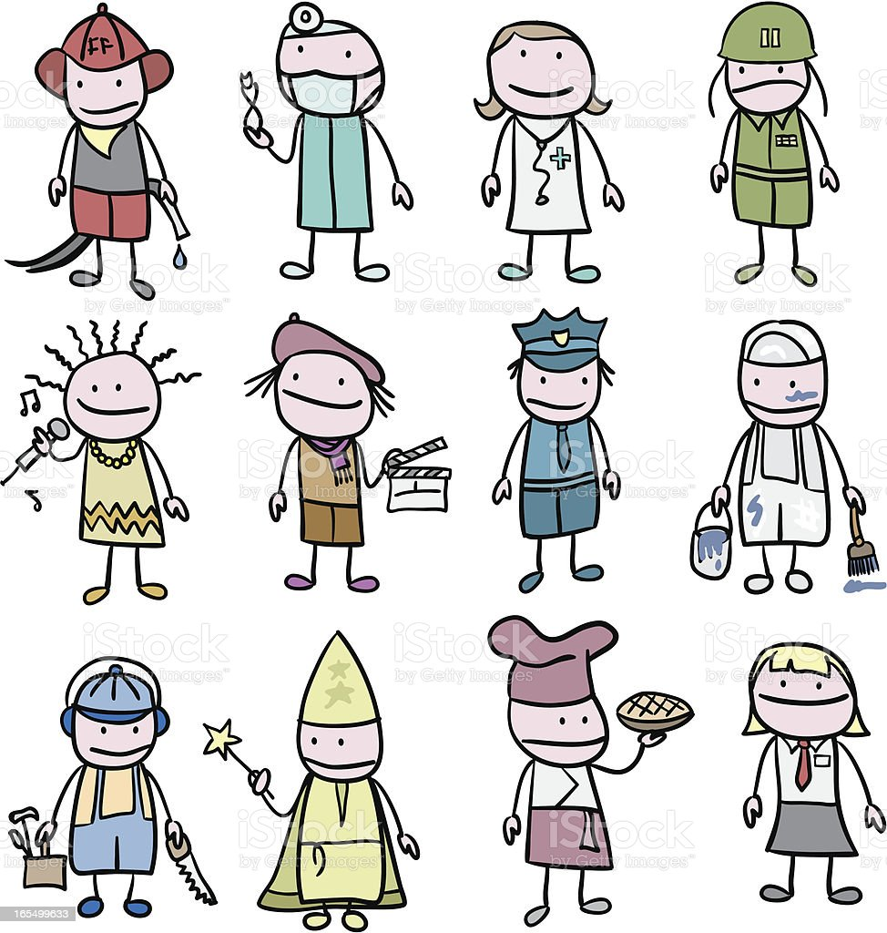 Children and Occupations / Professions vector art illustration