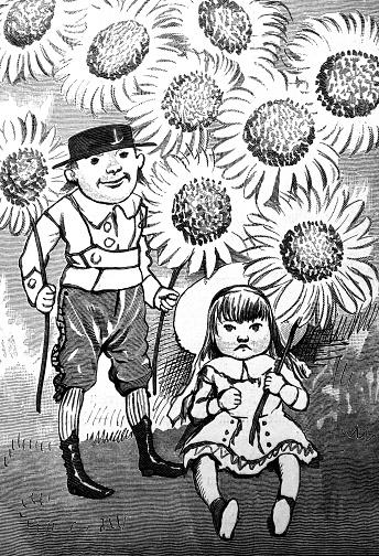 Children and sunflowers