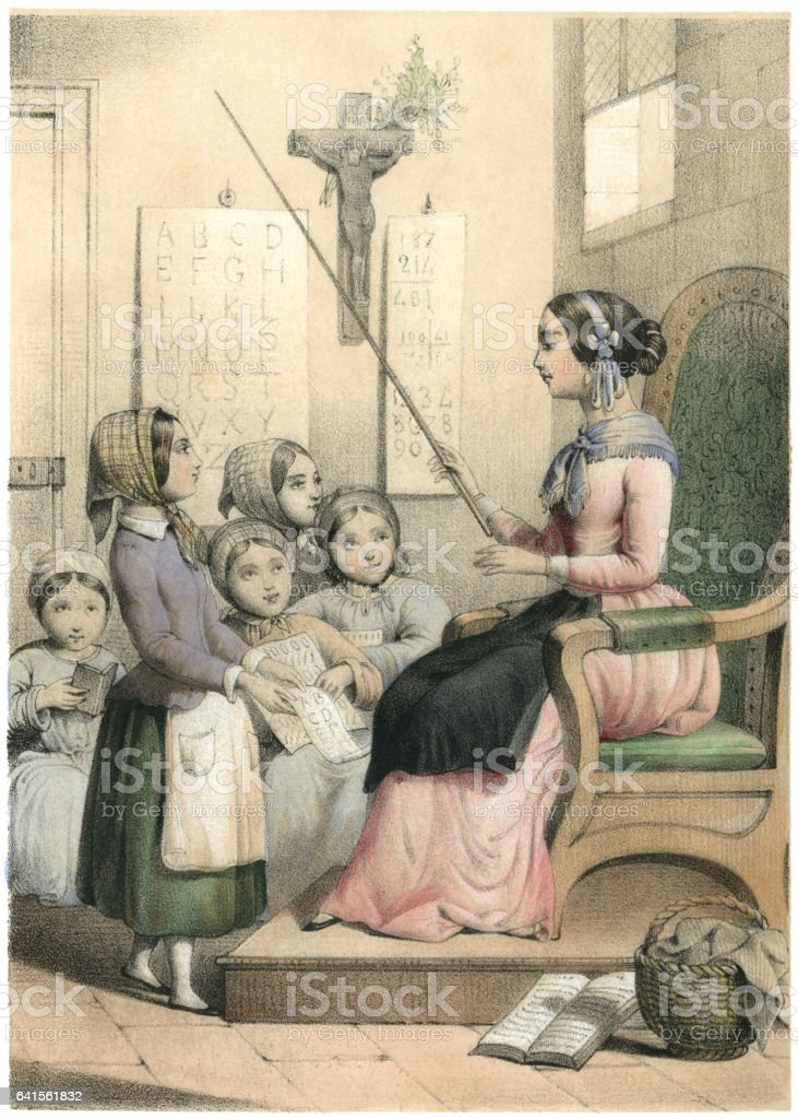 Children and teacher in a 19th century French Sunday School vector art illustration