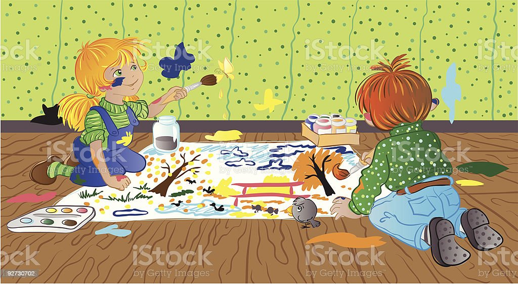 Children are painting royalty-free stock vector art