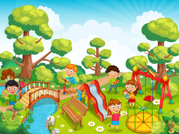Children are playing with toys on the playground in the park illustration vector art illustration