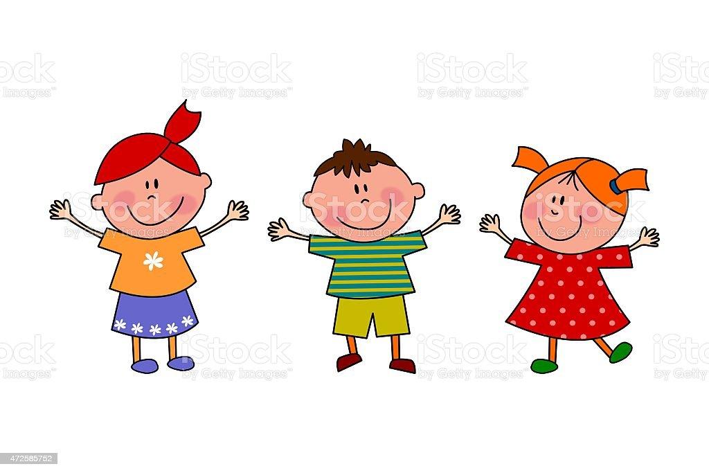 Kinder Comicfiguren Auf Weißem Hintergrund Stock Vektor Art und mehr ...