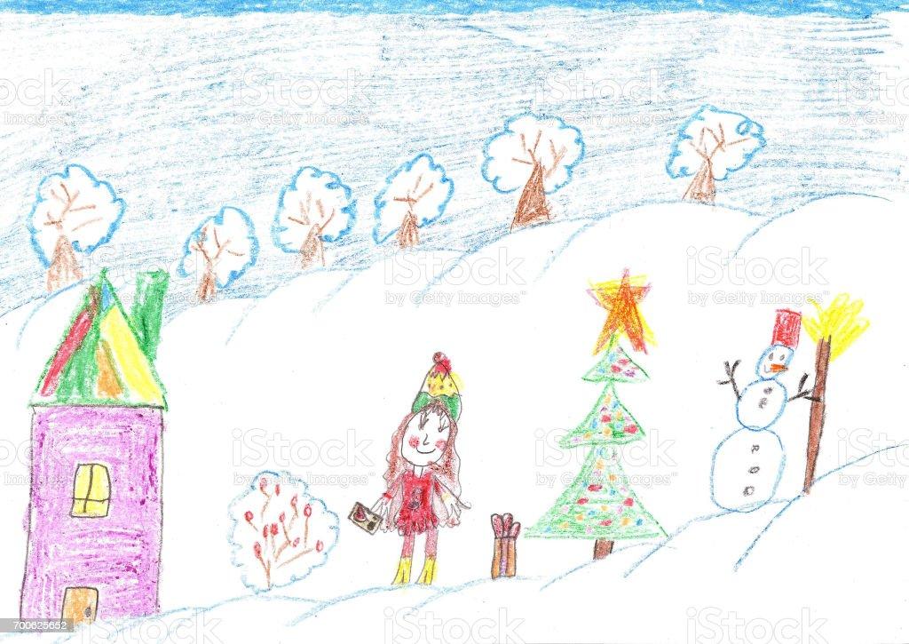 Ilustración de Los Niños Celebran La Navidad Al Aire Libre Dibujo De ...