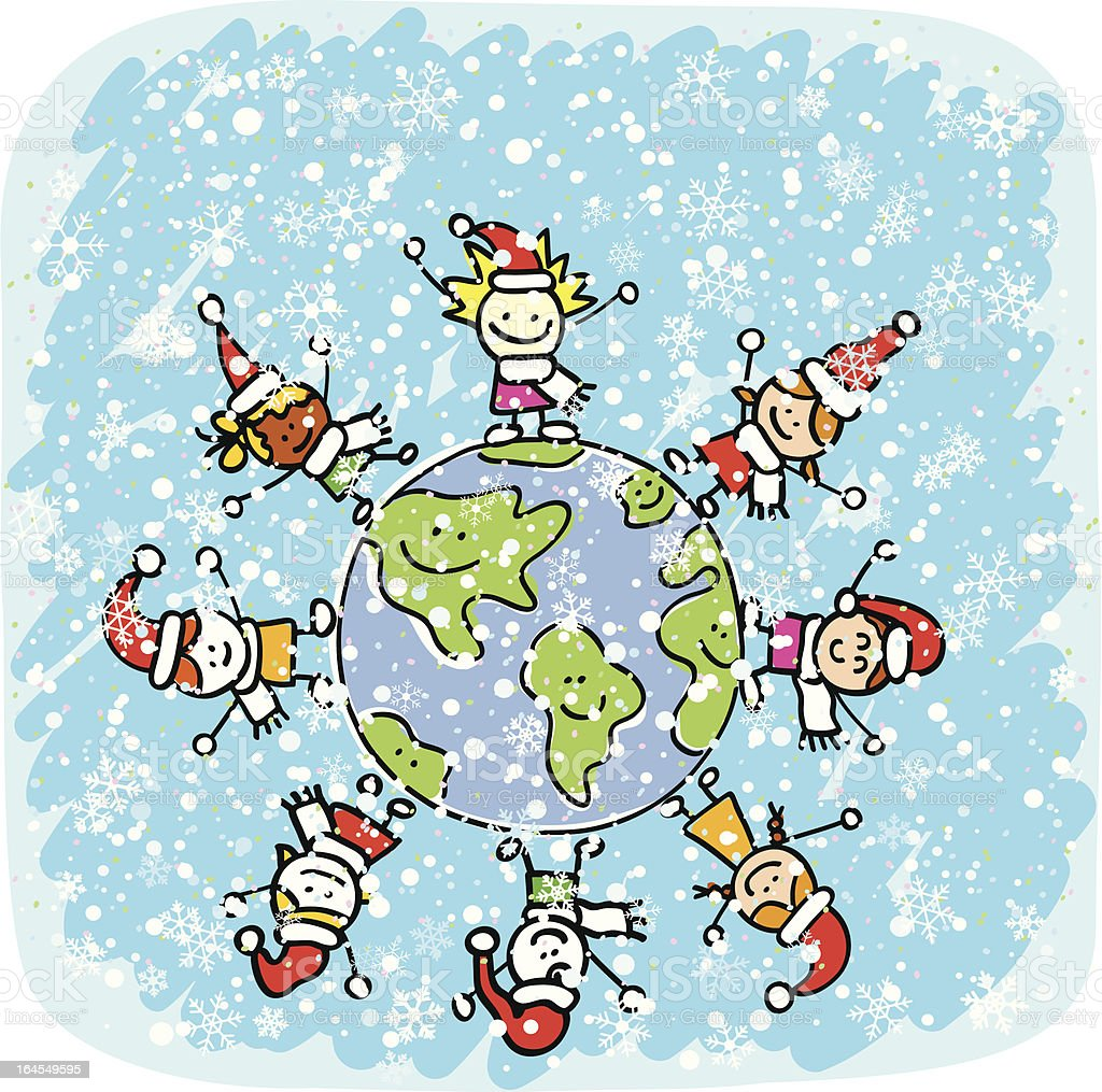 children celebrating christmas cartoon illustration royalty-free stock vector art
