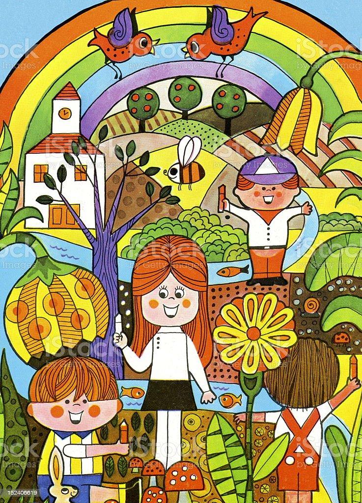 Coloriage Paysage Arc En Ciel.Paysage De Coloriage Pour Les Enfants Vecteurs Libres De Droits Et