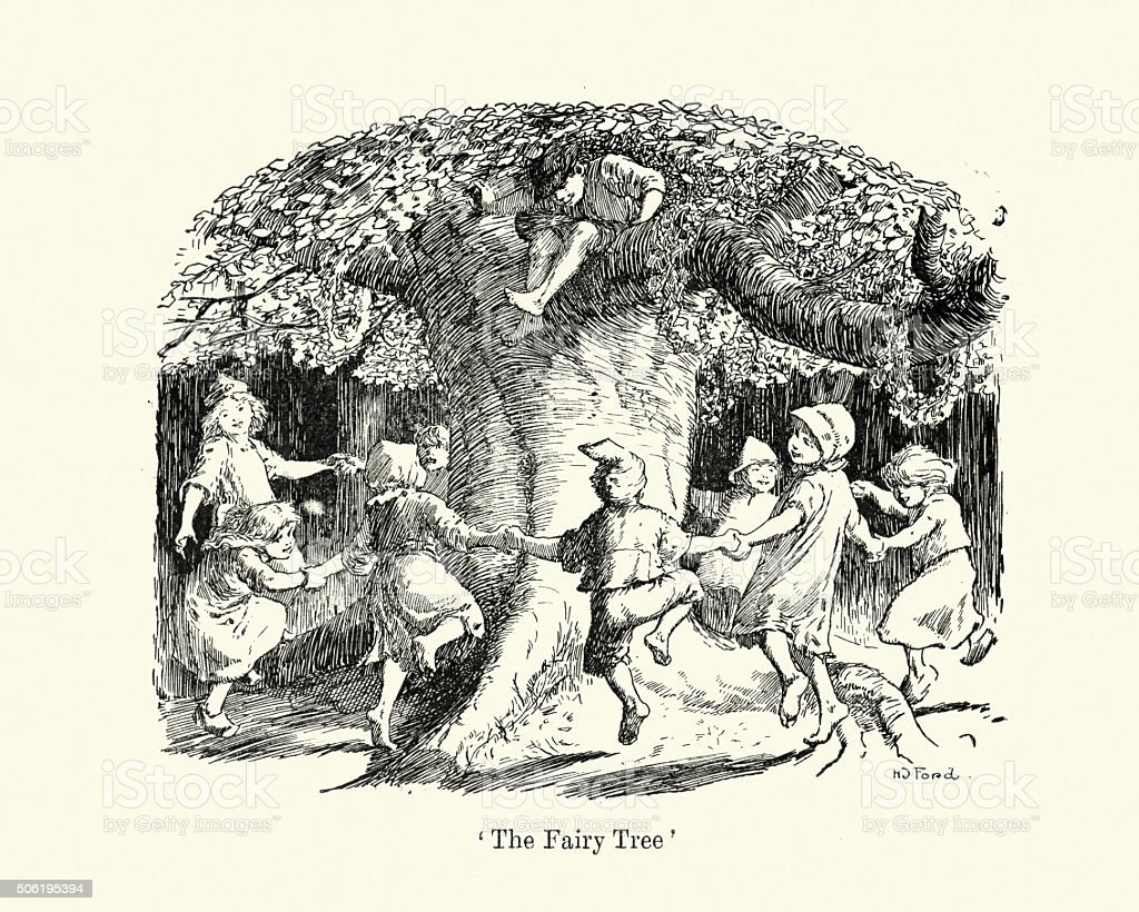 Children dancing round the Fairy Tree vector art illustration