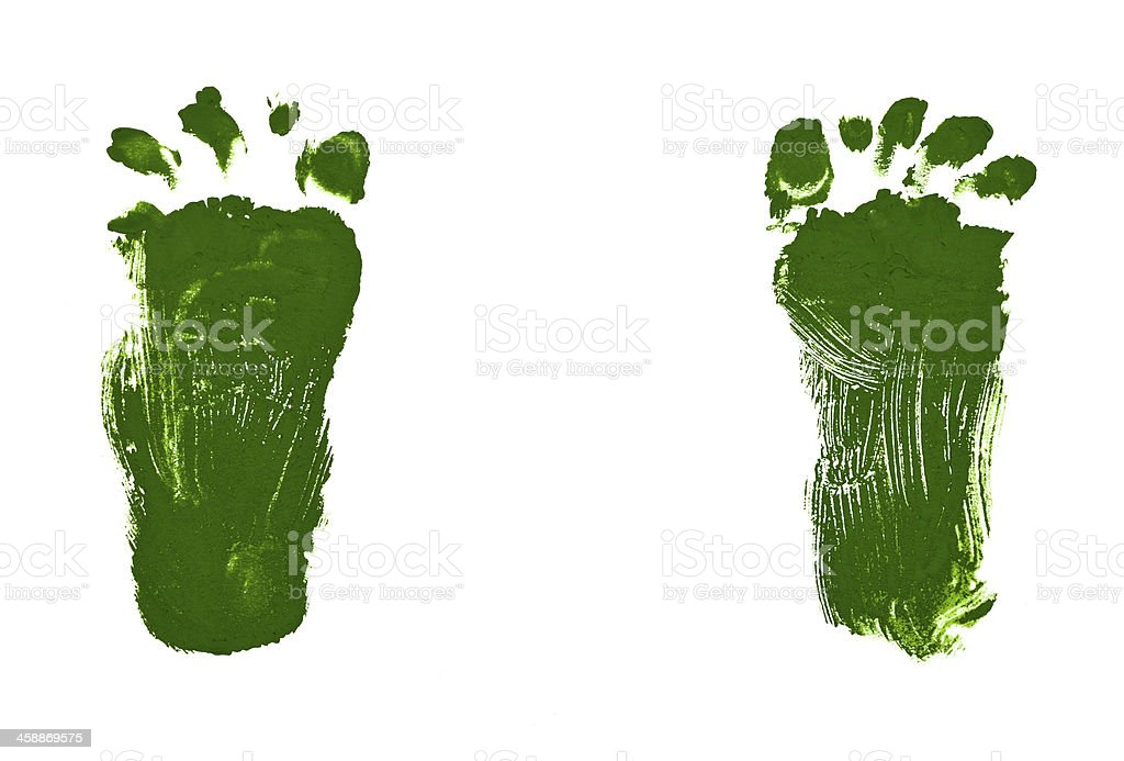 children drawing - green footsteps vector art illustration