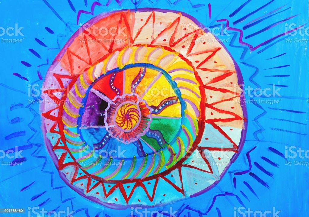Kinder Zeichnen Ursprüngliche Sonne Am Blauen Himmel Stock Vektor ...