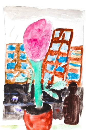 children drawing - pink flower in pot on home sill