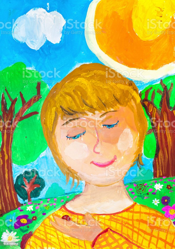 Children drawing. Portrait of  boy on green meadow background vector art illustration
