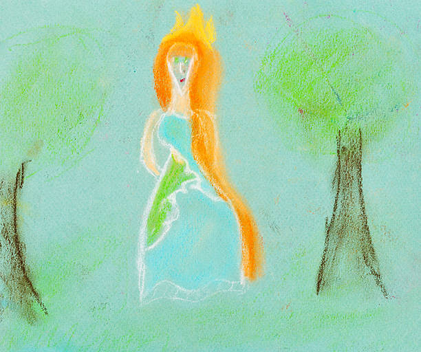 illustrazioni stock, clip art, cartoni animati e icone di tendenza di bambini disegno-principessa nella foresta - woman portrait forest