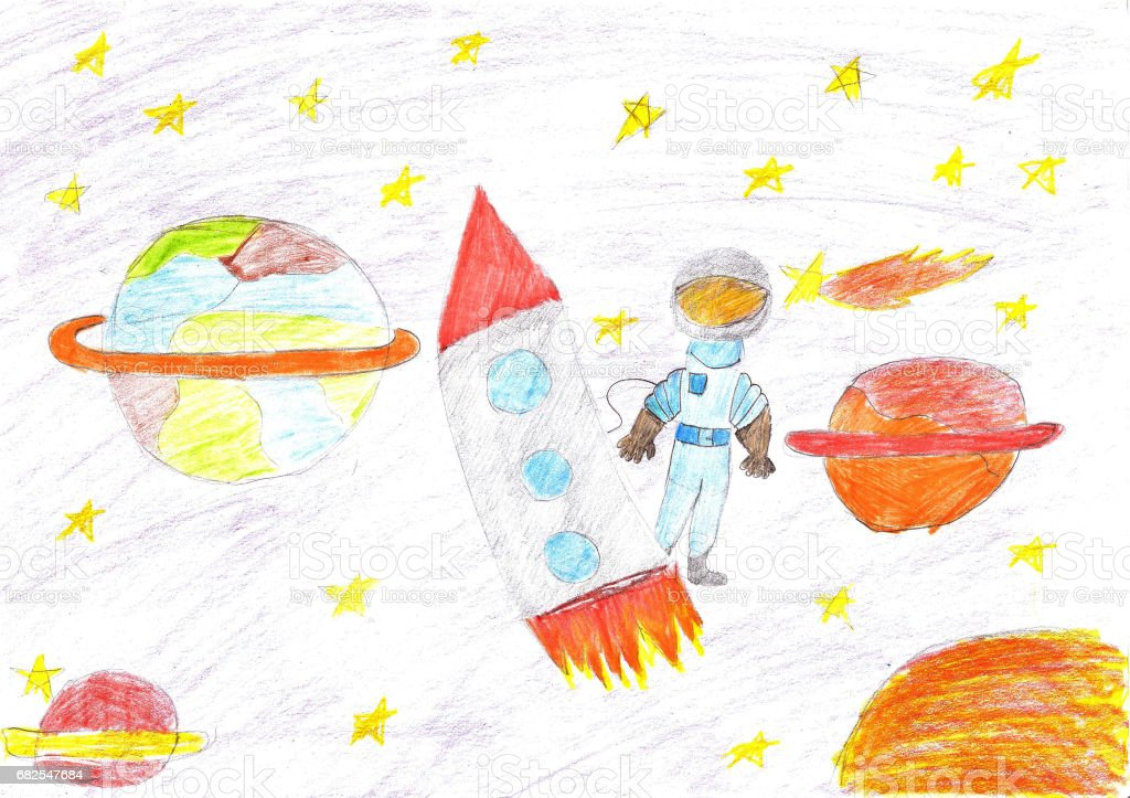 Children drawing space planet rocket royalty-free children drawing space planet rocket stock illustration - download image now