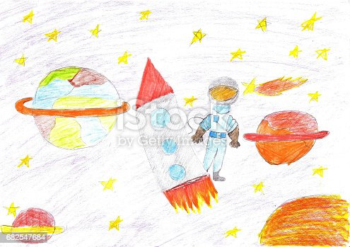 istock Children drawing space planet rocket 682547684