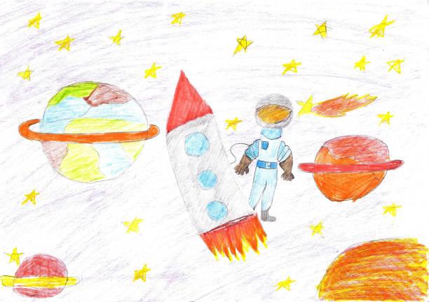 dzieci rysunek rakiety planety kosmicznej - dzieło artystyczne stock illustrations