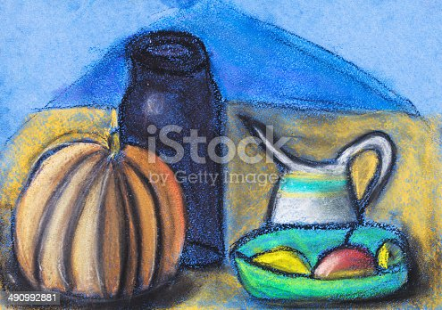 istock children drawing - still life with jugs and pumpkin 490992881