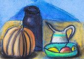 children drawing - still life with black jug and ripe pumpkin