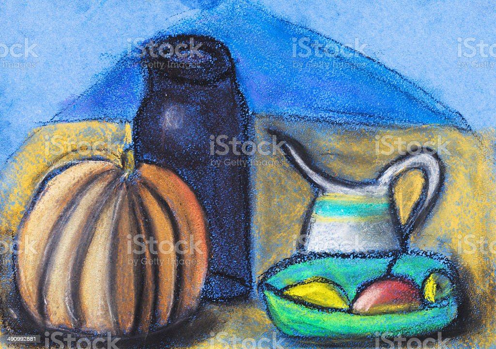 children drawing - still life with jugs and pumpkin vector art illustration