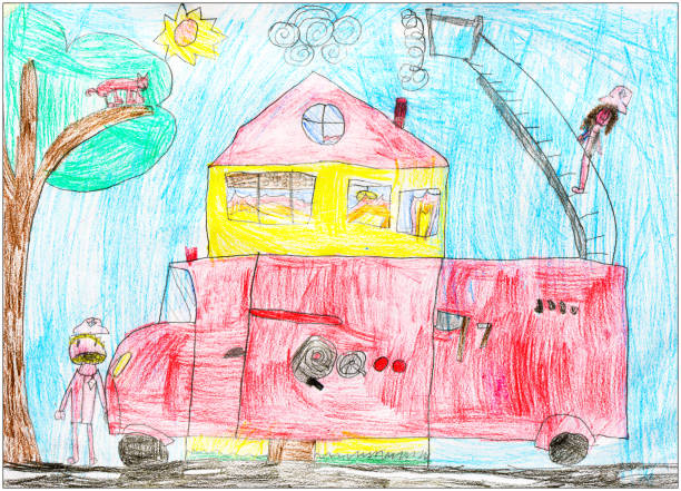 Children drawings, sketches and doodles: Fire brigade truck vector art illustration