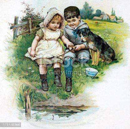 istock Children Fishing Illustration 171148956