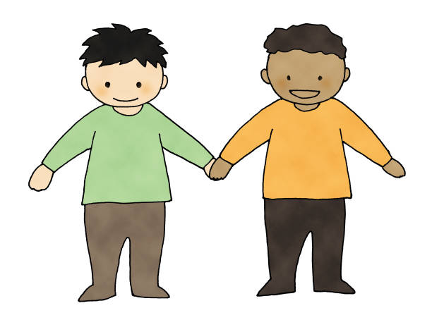 illustrazioni stock, clip art, cartoni animati e icone di tendenza di children hold hands - two students together asian