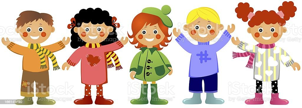 Children in warm clothes royalty-free stock vector art