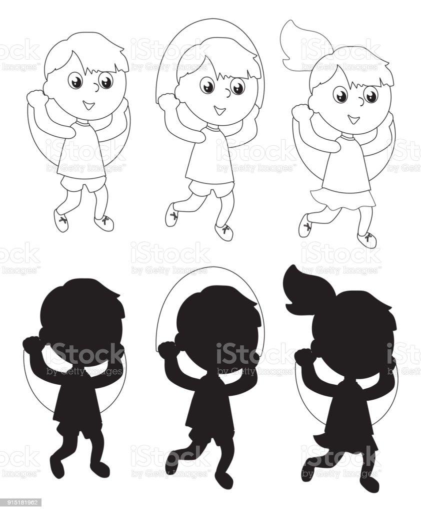 Ilustracion De Ninos Saltando La Cuerda Para Colorear Siluetas