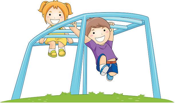 Children On Monkey Bar Vector Art Illustration
