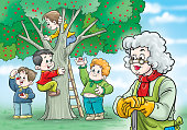Children on the a tree picking cherries.