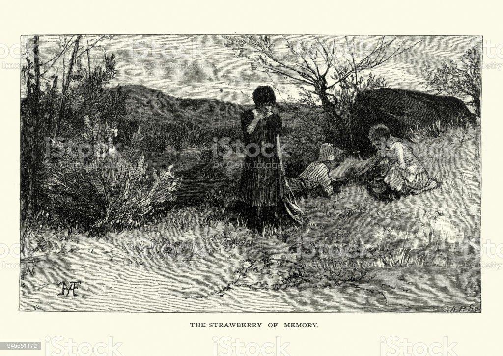 Children picking wild strawberries, 19th Century vector art illustration