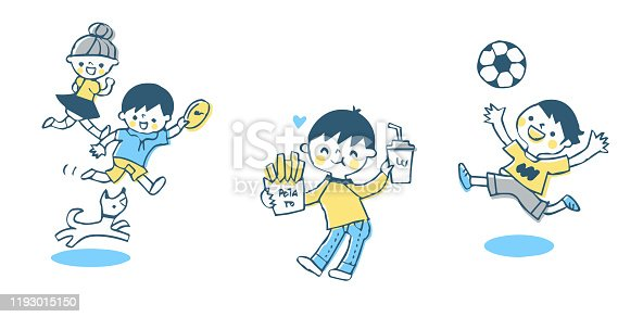 istock Children playing and eating well 1193015150