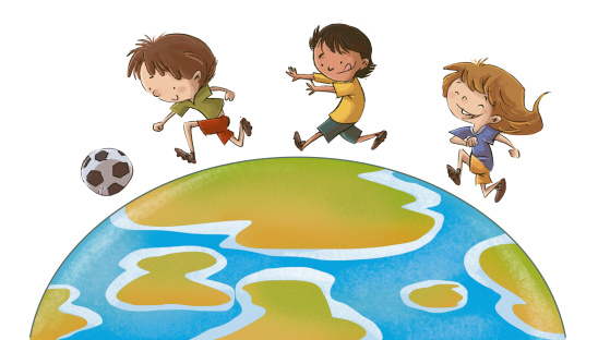 children playing ball for the world