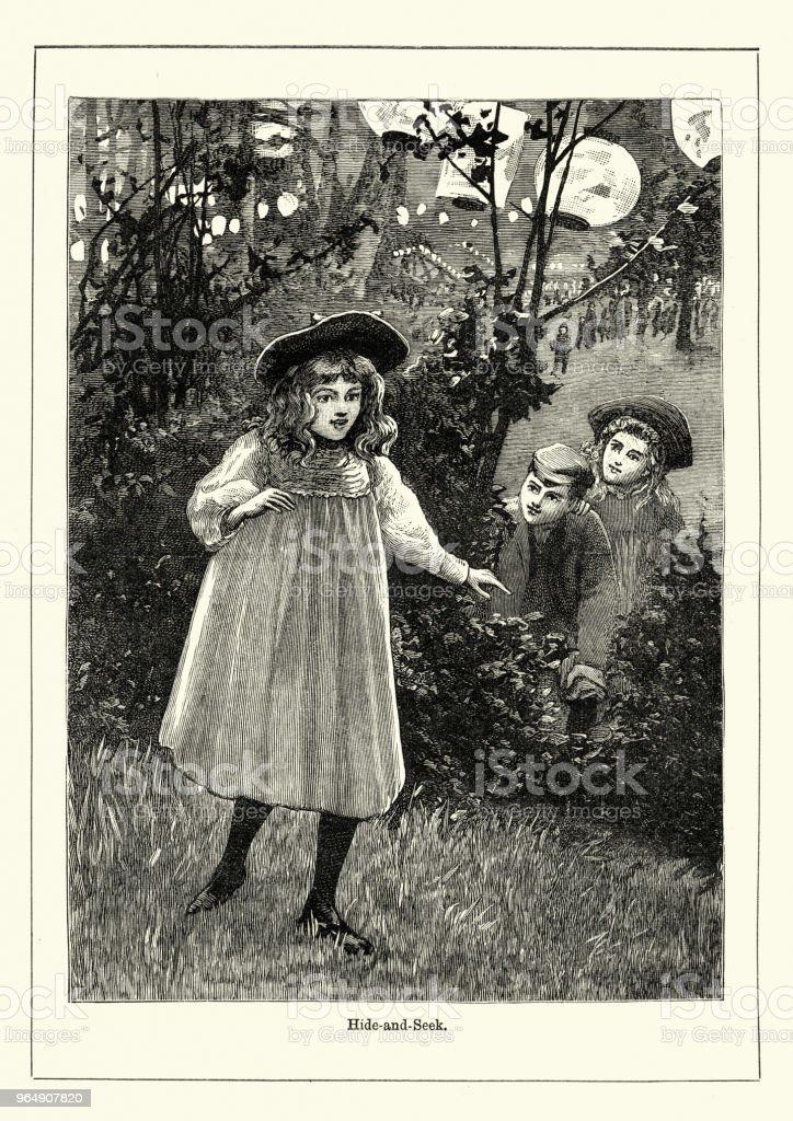 兒童玩捉迷藏, 維多利亞, 第十九世紀 - 免版稅1890-1899插圖檔