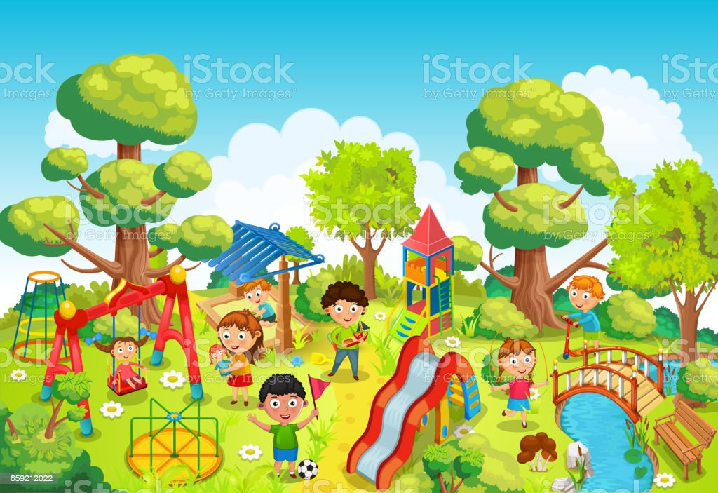 Children playing in the park illustration vector art illustration
