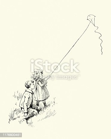 Vintage engraving of Children playing outdoors, flying a kite, Victorian, 19th Century