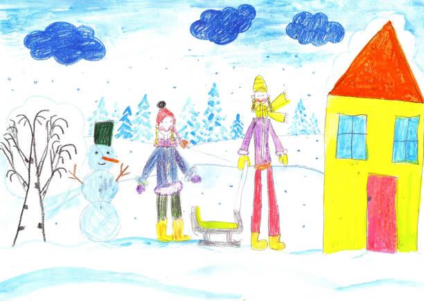 ilustrações de stock, clip art, desenhos animados e ícones de children playing, skiing and sledding. make a snowman. drawing kid. - produto artístico