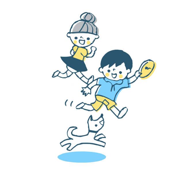 illustrazioni stock, clip art, cartoni animati e icone di tendenza di children playing with dogs in frisbee - two students together asian