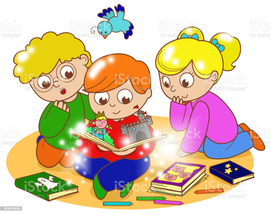 Children Reading Magic Book Stock Vector Art More Images Of Book