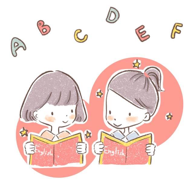 ilustrações, clipart, desenhos animados e ícones de crianças estudando inglês com livros didáticos - salas de aula