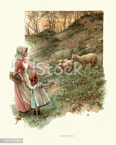 Vintage colour engraving of Children visiting spring lambs on the farm, Victorian 19th Century.  Spring-time