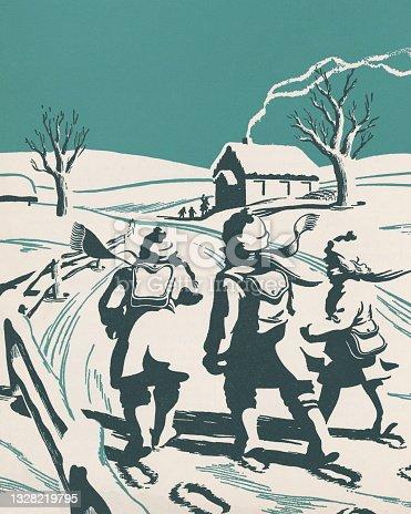 istock Children Walking in the Snow to School 1328219795