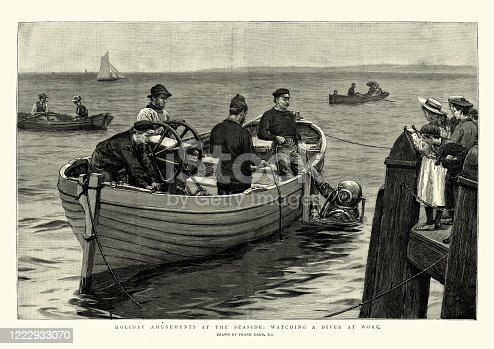 Vintage illustration of Children watching a Victorian diver at work, 19th Century.  Frank Dadd