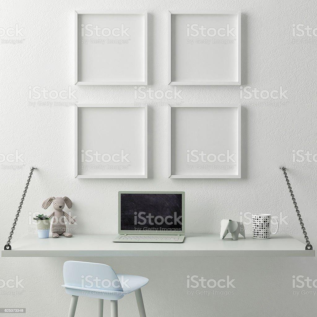 Children working room,, Empty poster vector art illustration