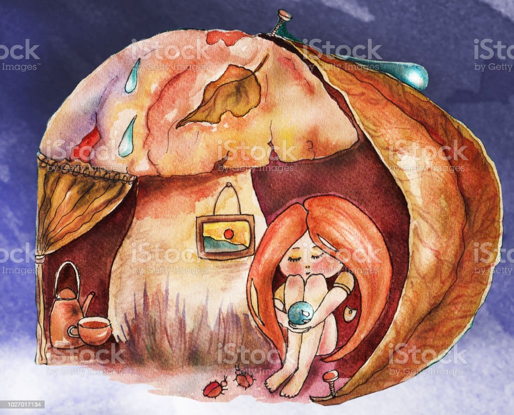 Childrens Book Illustration Watercolor Cute Girl With Red