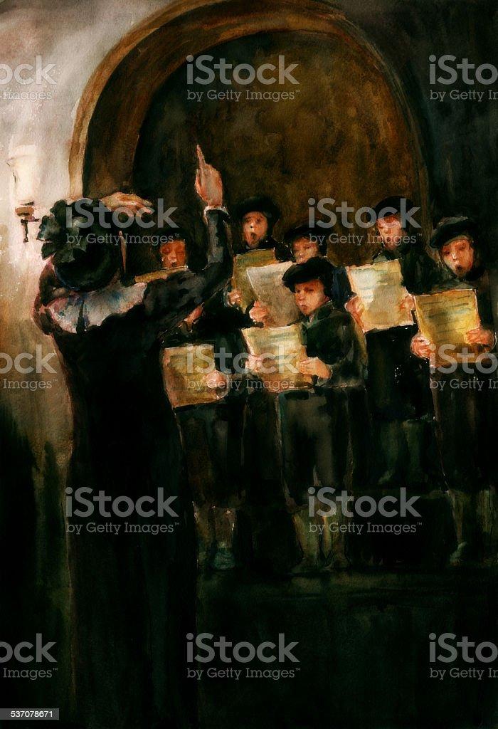 Children's Choir vector art illustration