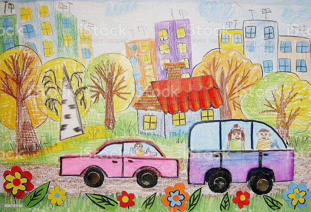 Vetores De Desenho Infantil Do Onibus E Carros E Mais Imagens De