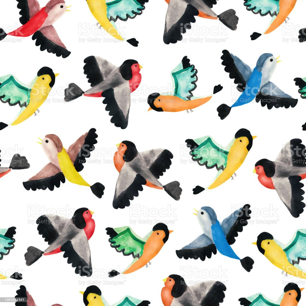 Childrens Hand Drawn Seamless Pattern Watercolor Cute Colorful Flying Birds Illustration For A Wall Decor Of A Nursery Baby Room Children Greeting Cards Invitation Wallpaper Wrapping Paper Stock Illustration Download Image