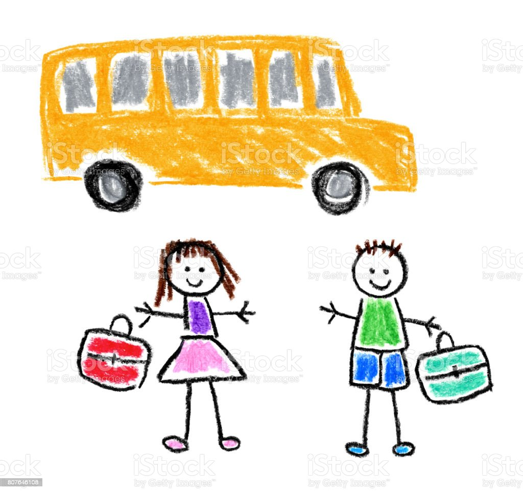 Children's Style Drawing - Back To School Theme vector art illustration
