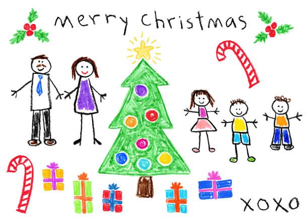 ilustrações de stock, clip art, desenhos animados e ícones de children's style drawing - christmas theme - family christmas